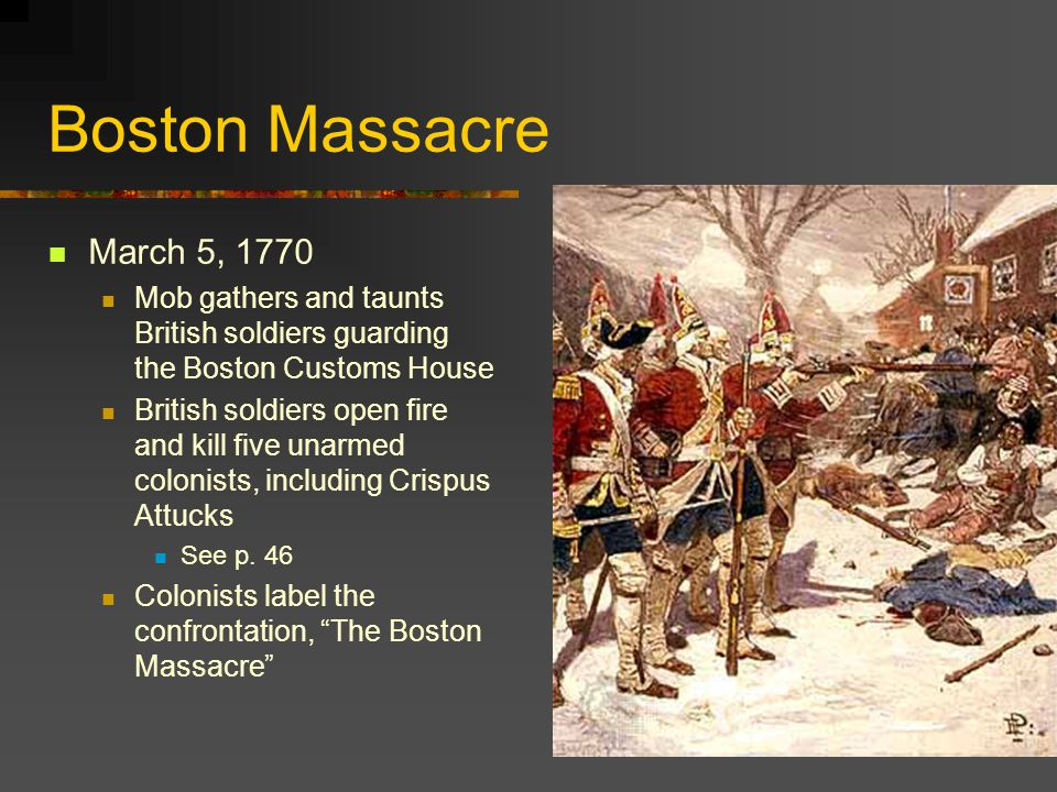 Boston Massacre March 5, 1770. Mob gathers and taunts British soldiers guarding the Boston Customs House.