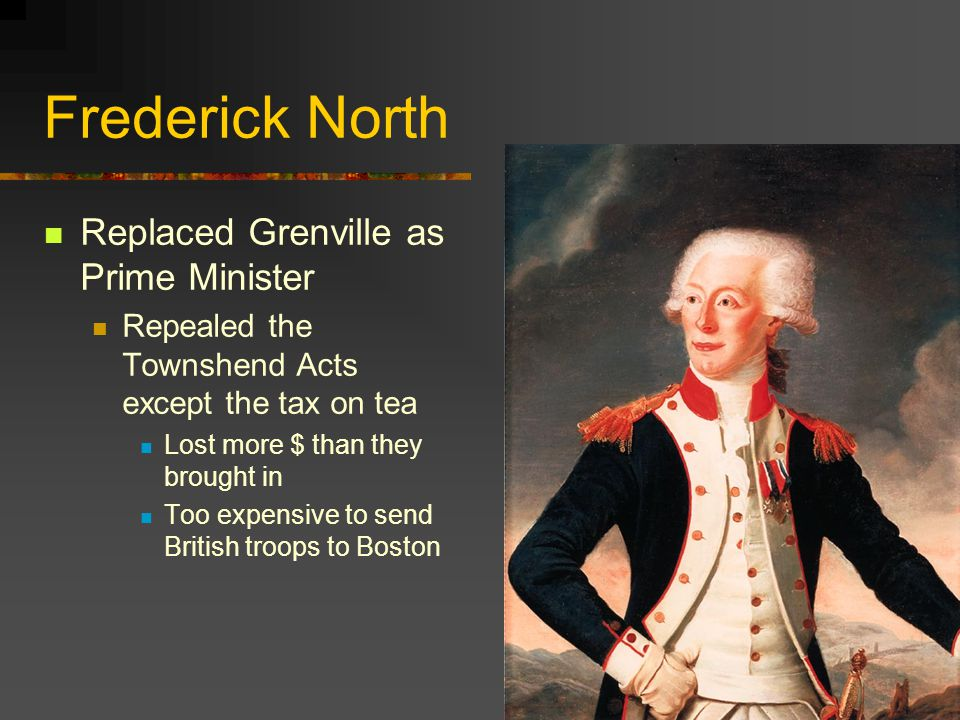 Frederick North Replaced Grenville as Prime Minister