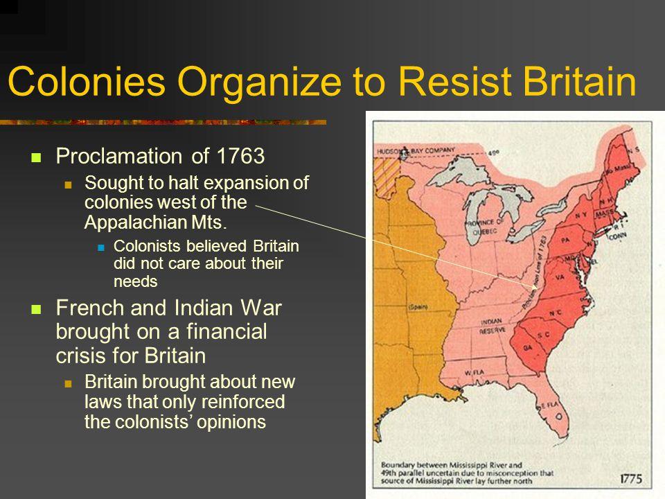 Colonies Organize to Resist Britain