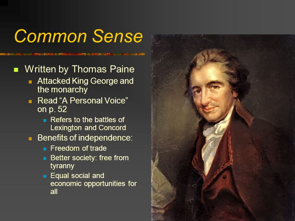 Common Sense Written by Thomas Paine