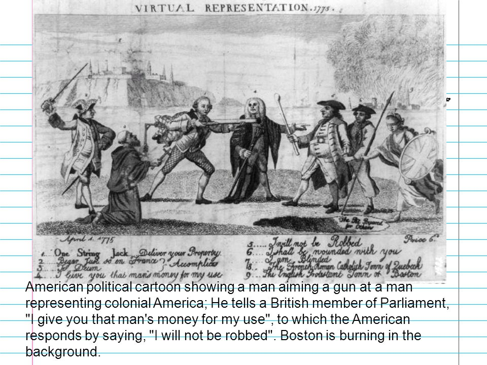 American political cartoon showing a man aiming a gun at a man representing colonial America; He tells a British member of Parliament, I give you that man s money for my use , to which the American responds by saying, I will not be robbed .