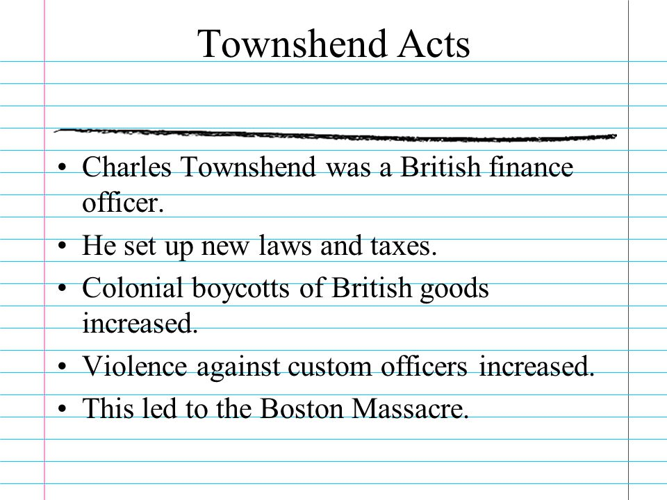 Townshend Acts Charles Townshend was a British finance officer.