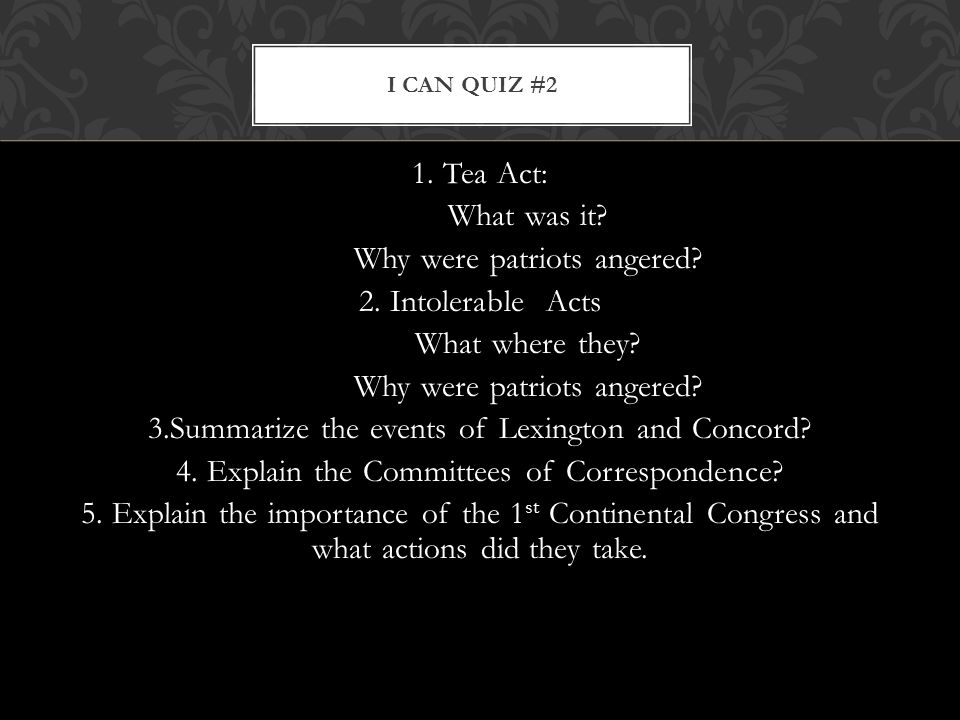 I Can Quiz #2