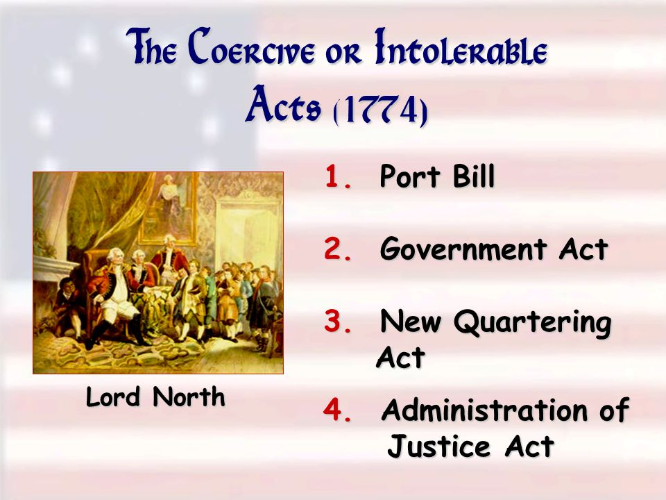 The Coercive or Intolerable Acts (1774)