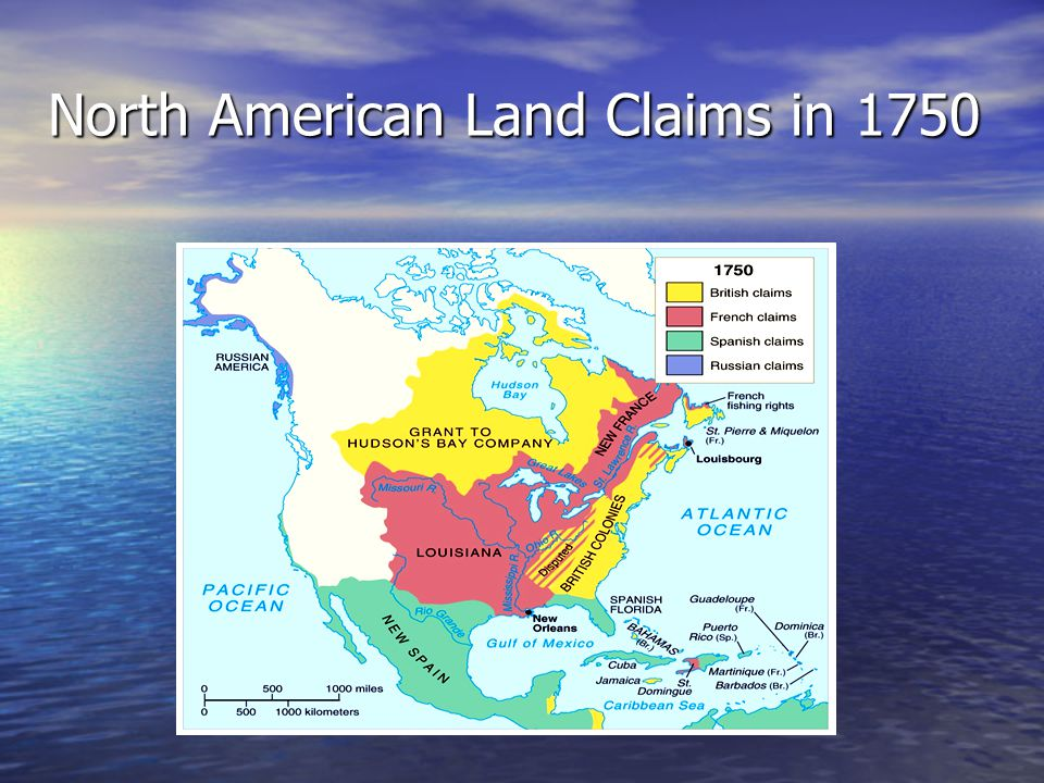 North American Land Claims in 1750