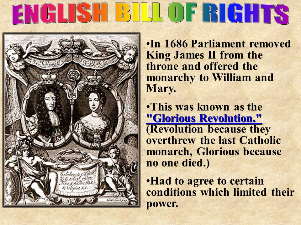 ENGLISH BILL OF RIGHTS In 1686 Parliament removed King James II from the throne and offered the monarchy to William and Mary.