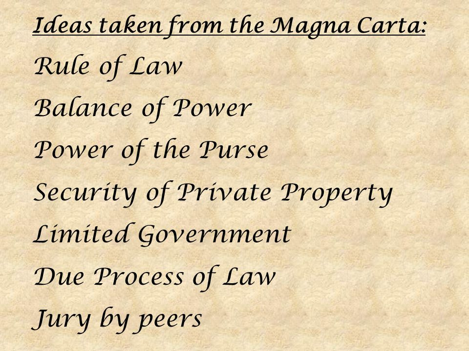 Security of Private Property Limited Government Due Process of Law