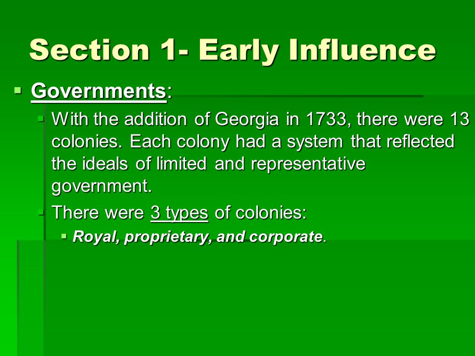 Section 1- Early Influence