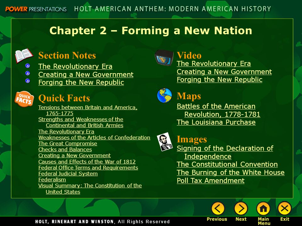 Chapter 2 – Forming a New Nation