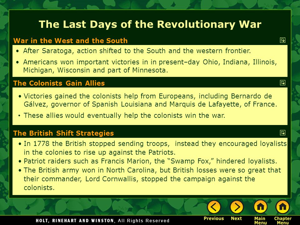 The Last Days of the Revolutionary War