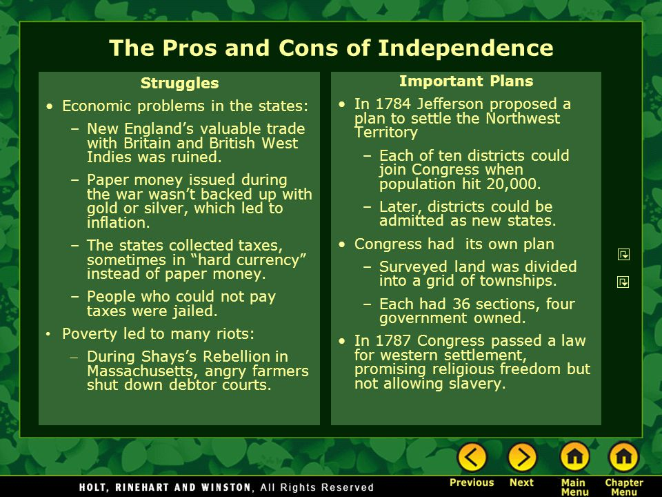 The Pros and Cons of Independence