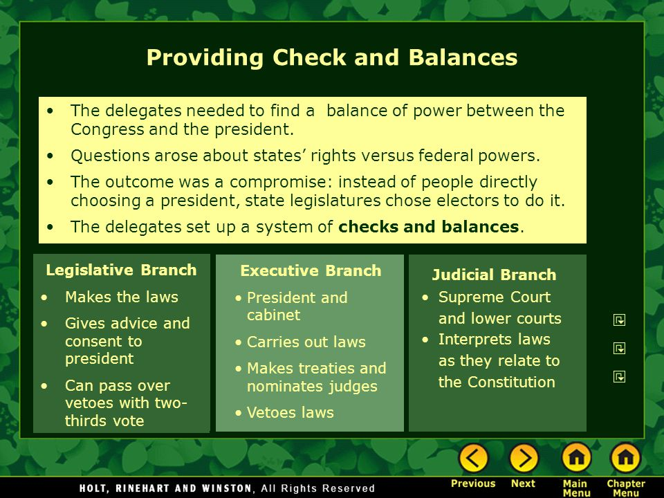 Providing Check and Balances