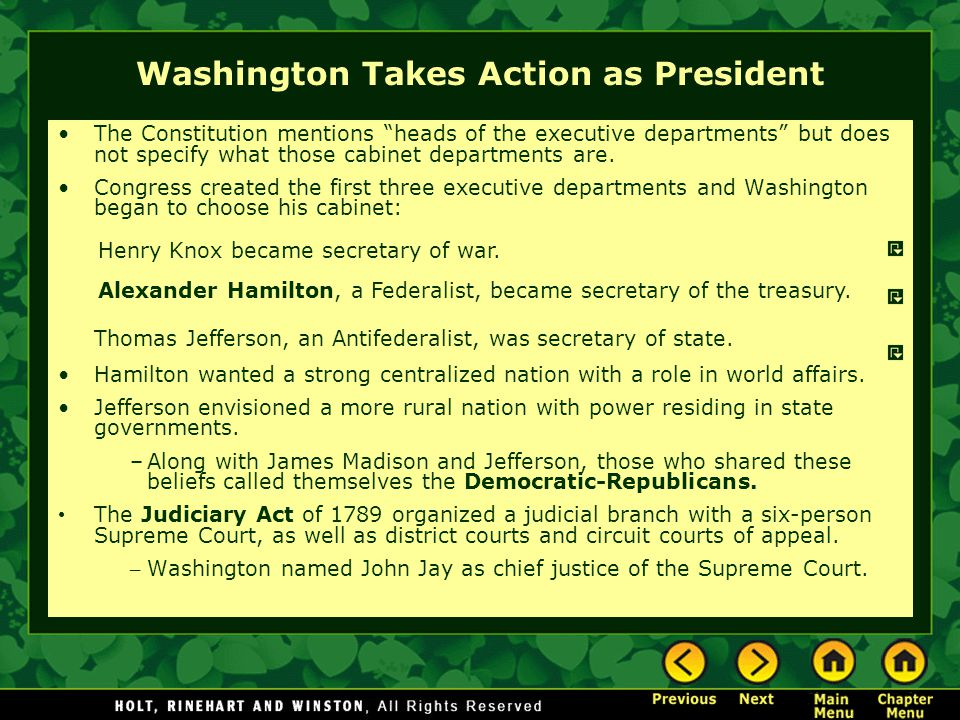 Washington Takes Action as President