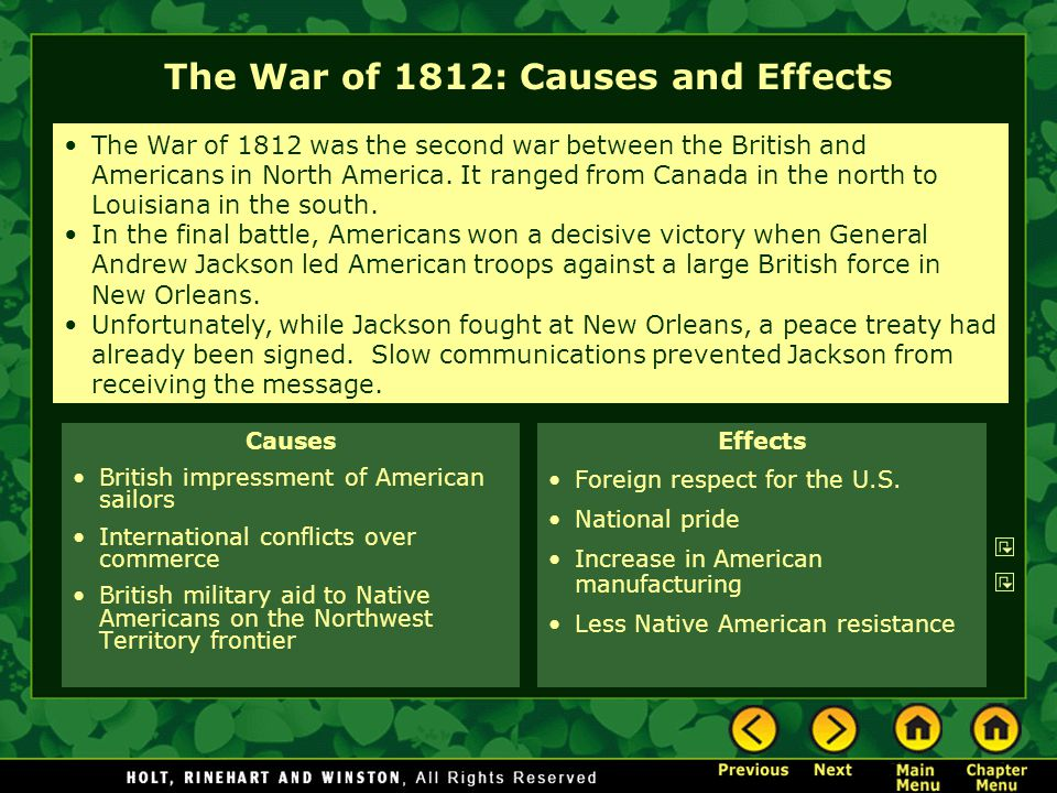 The War of 1812: Causes and Effects