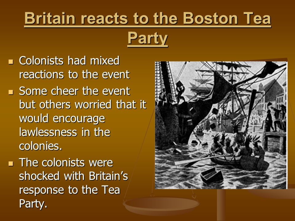 Britain reacts to the Boston Tea Party