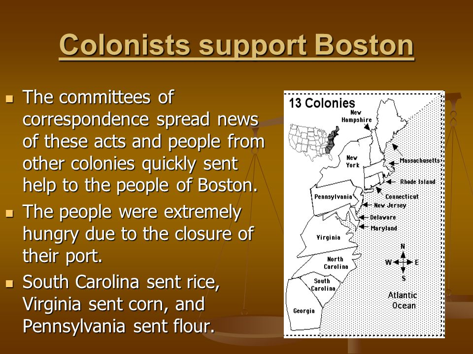 Colonists support Boston