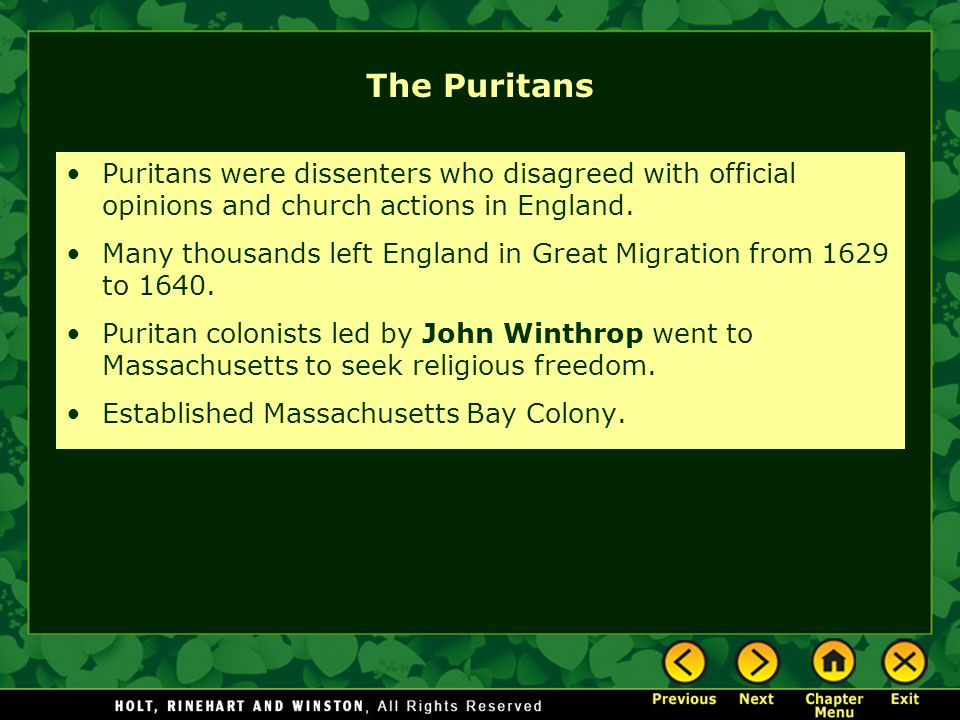 The Puritans Puritans were dissenters who disagreed with official opinions and church actions in England.