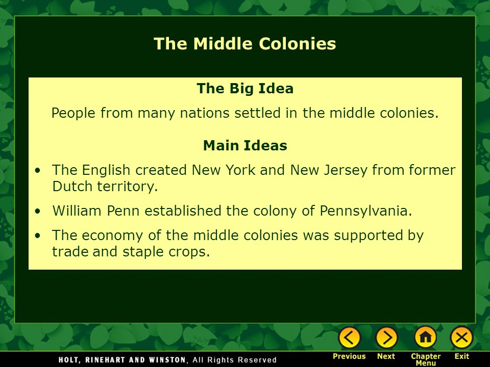 People from many nations settled in the middle colonies.