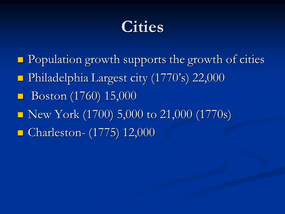 Cities Population growth supports the growth of cities