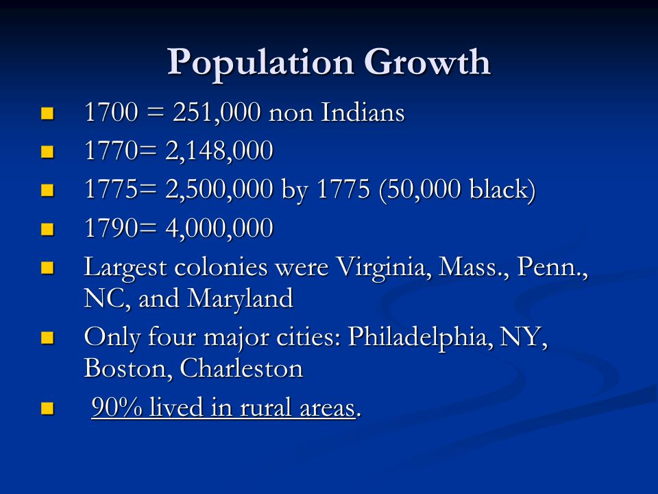 Population Growth 1700 = 251,000 non Indians 1770= 2,148,000