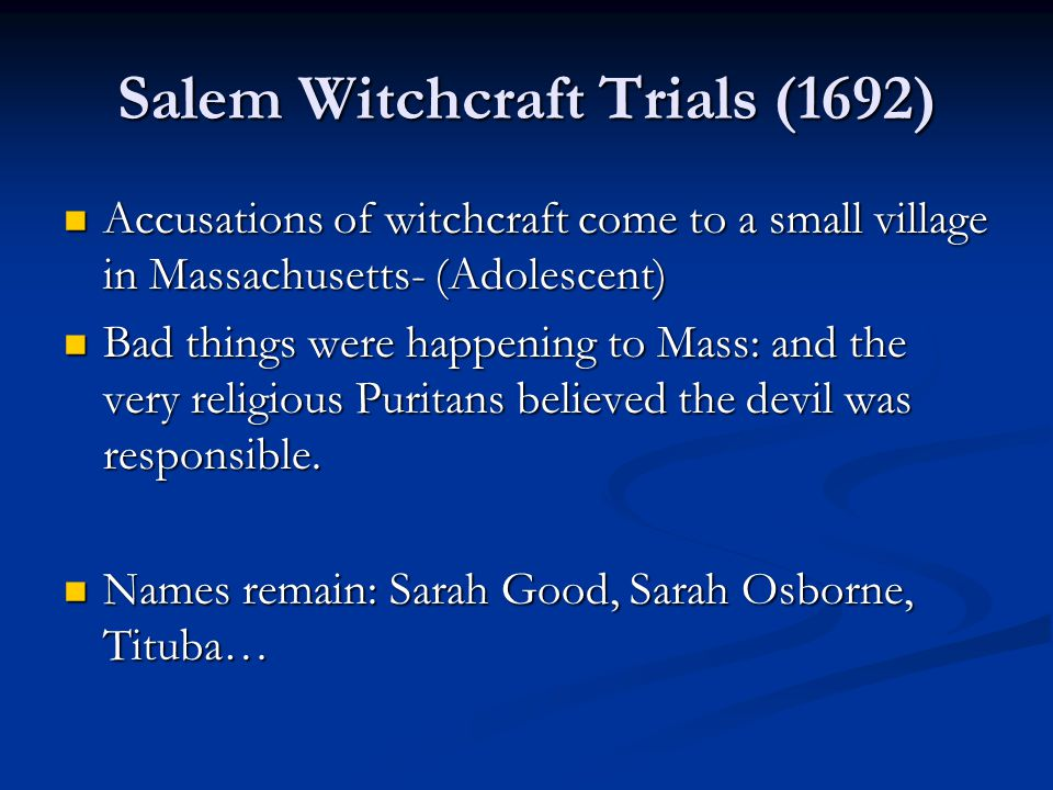 Salem Witchcraft Trials (1692)