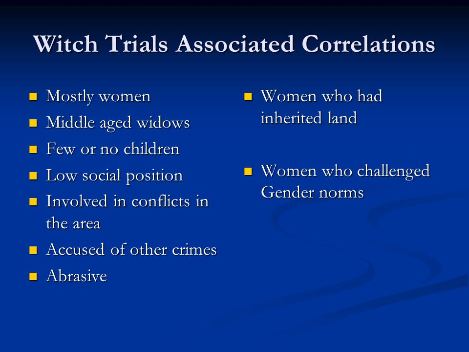 Witch Trials Associated Correlations