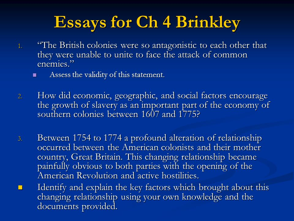 Essays for Ch 4 Brinkley