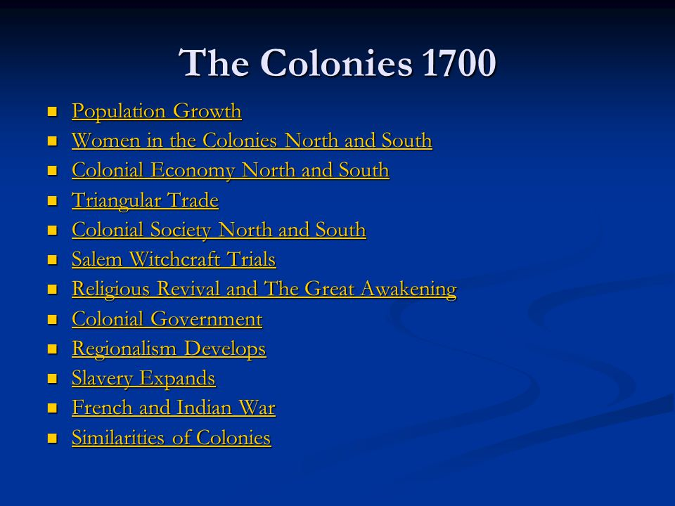 The Colonies 1700 Population Growth