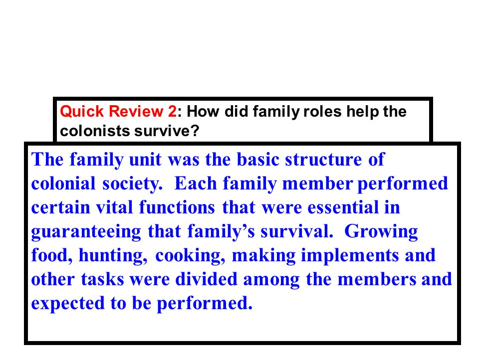 Quick Review 2: How did family roles help the colonists survive