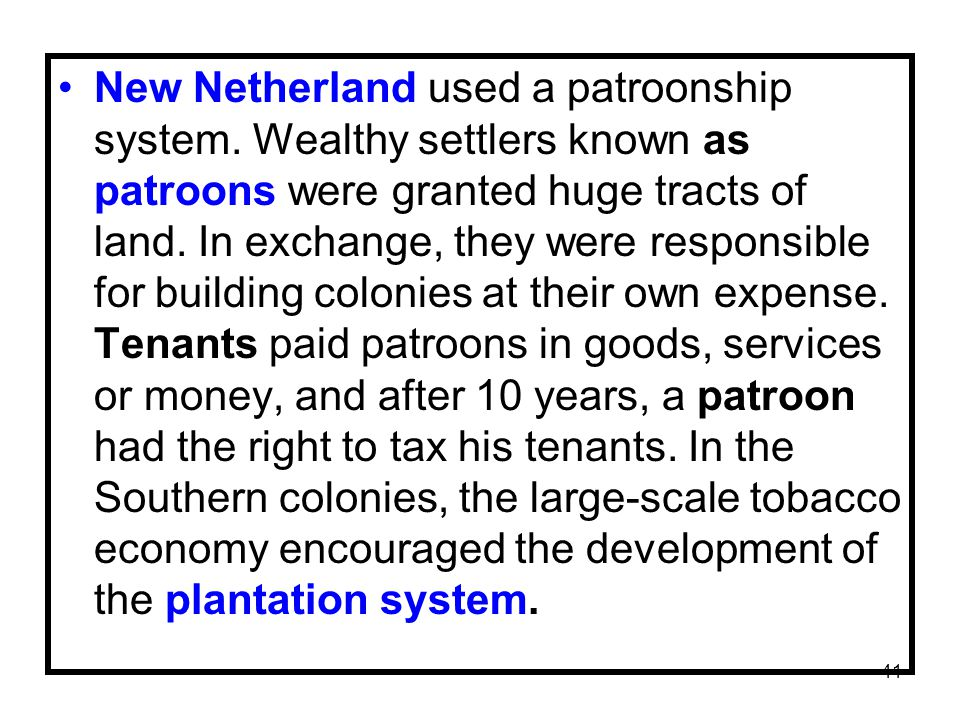 New Netherland used a patroonship system