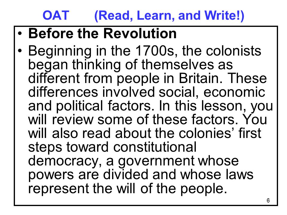 OAT (Read, Learn, and Write!)