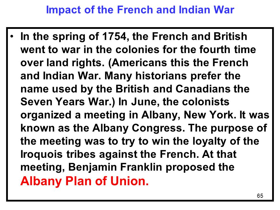Impact of the French and Indian War