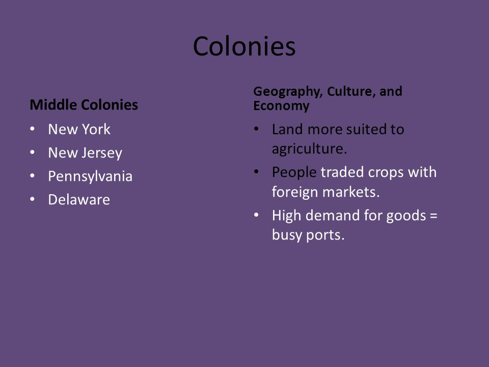 Colonies Middle Colonies New York New Jersey Pennsylvania Delaware