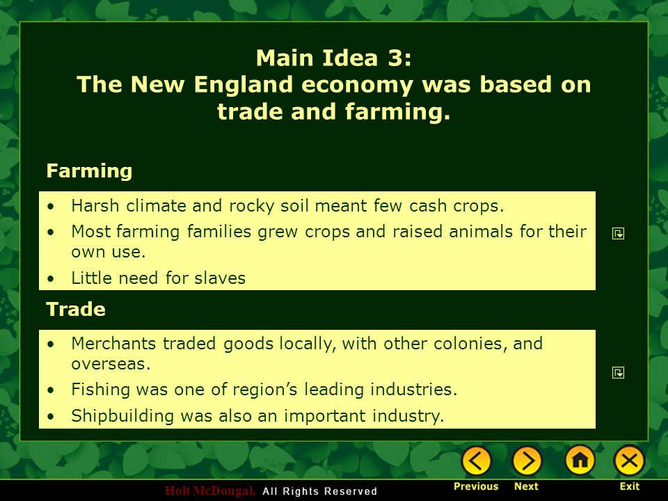Main Idea 3: The New England economy was based on trade and farming.