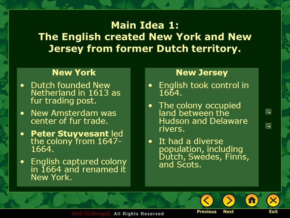 Main Idea 1: The English created New York and New Jersey from former Dutch territory.