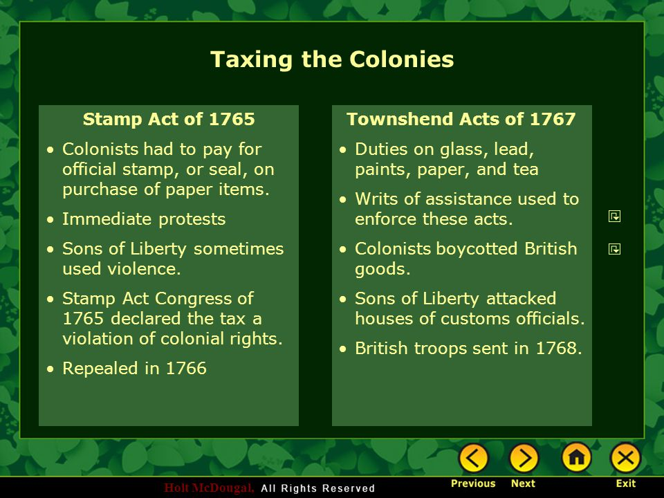 Taxing the Colonies Stamp Act of 1765