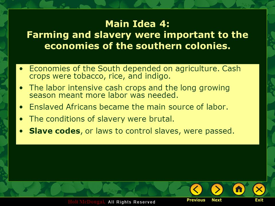 Main Idea 4: Farming and slavery were important to the economies of the southern colonies.