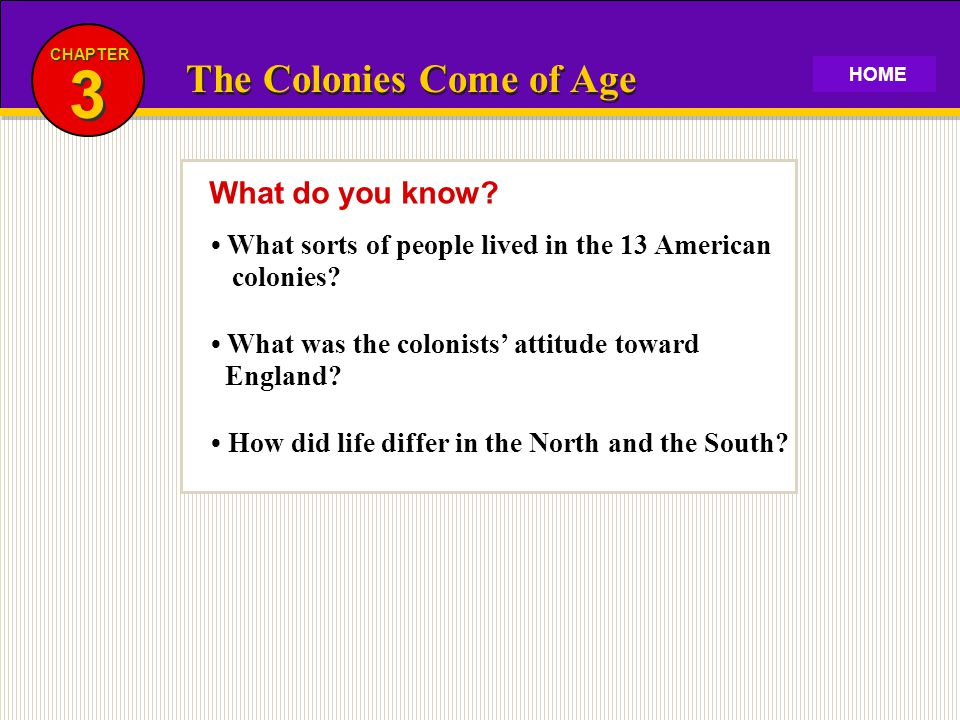 3 The Colonies Come of Age What do you know