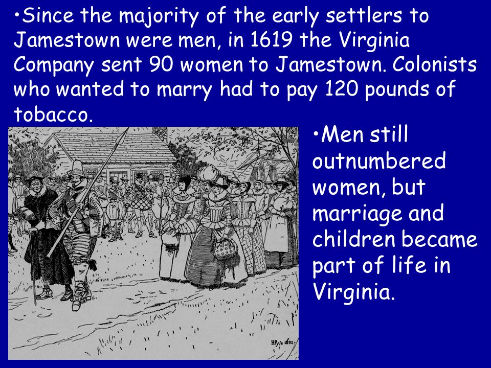 Since the majority of the early settlers to Jamestown were men, in 1619 the Virginia Company sent 90 women to Jamestown. Colonists who wanted to marry had to pay 120 pounds of tobacco.