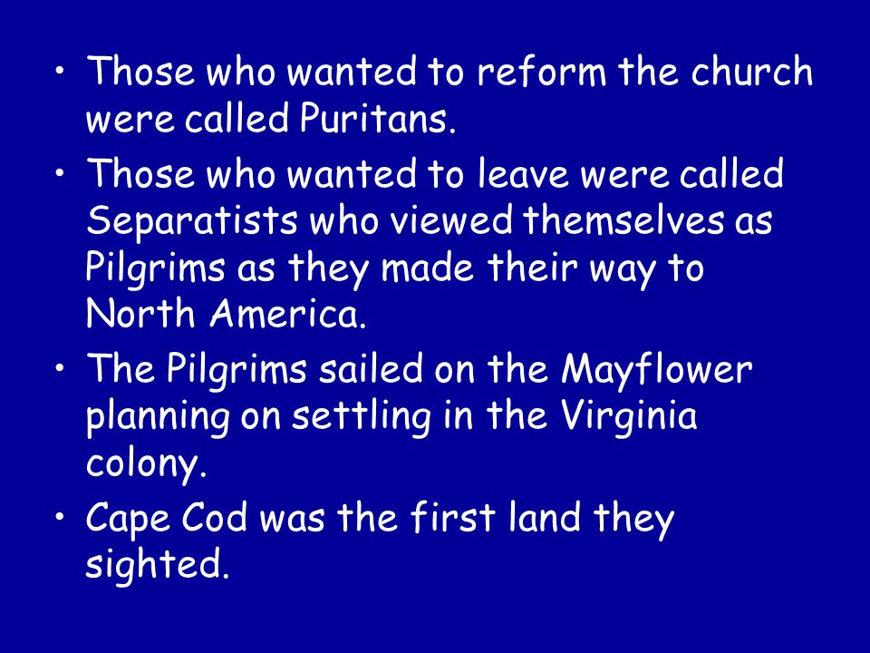 Those who wanted to reform the church were called Puritans.