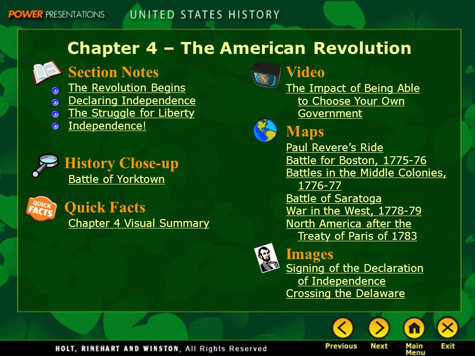 Chapter 4 – The American Revolution