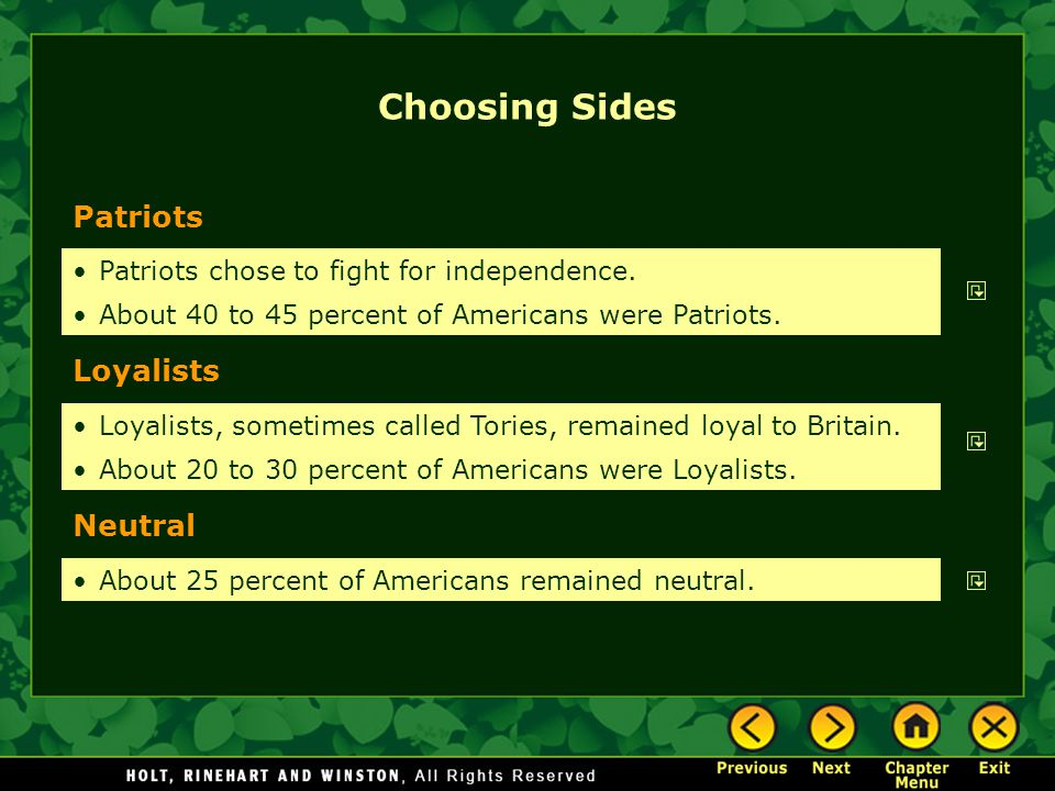 Choosing Sides Patriots Loyalists Neutral