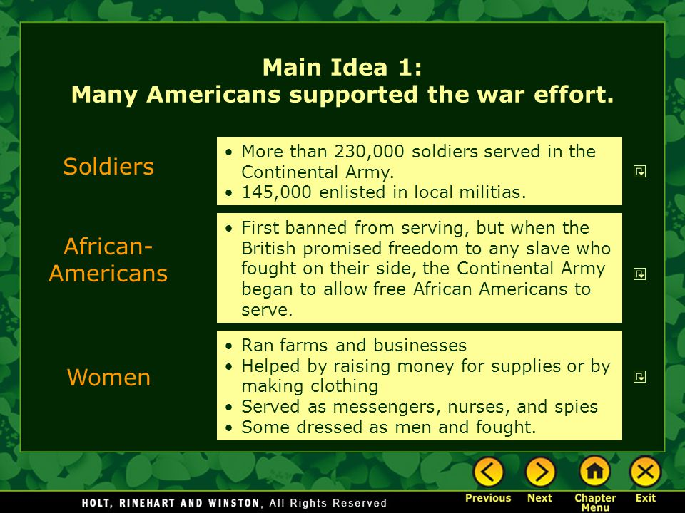 Main Idea 1: Many Americans supported the war effort.