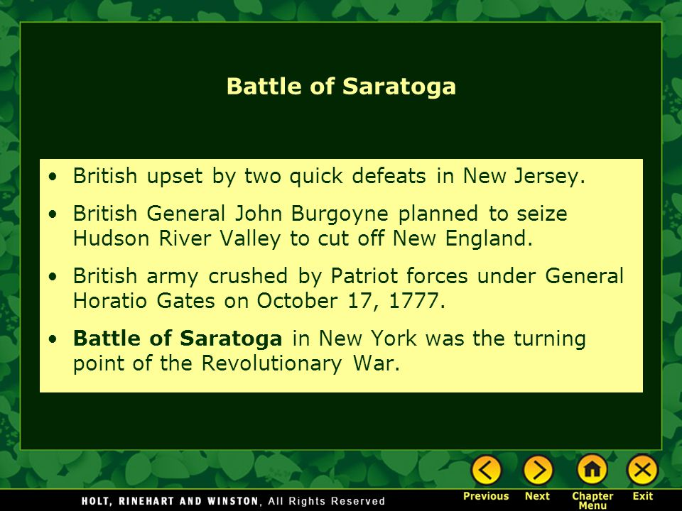 Battle of Saratoga British upset by two quick defeats in New Jersey.