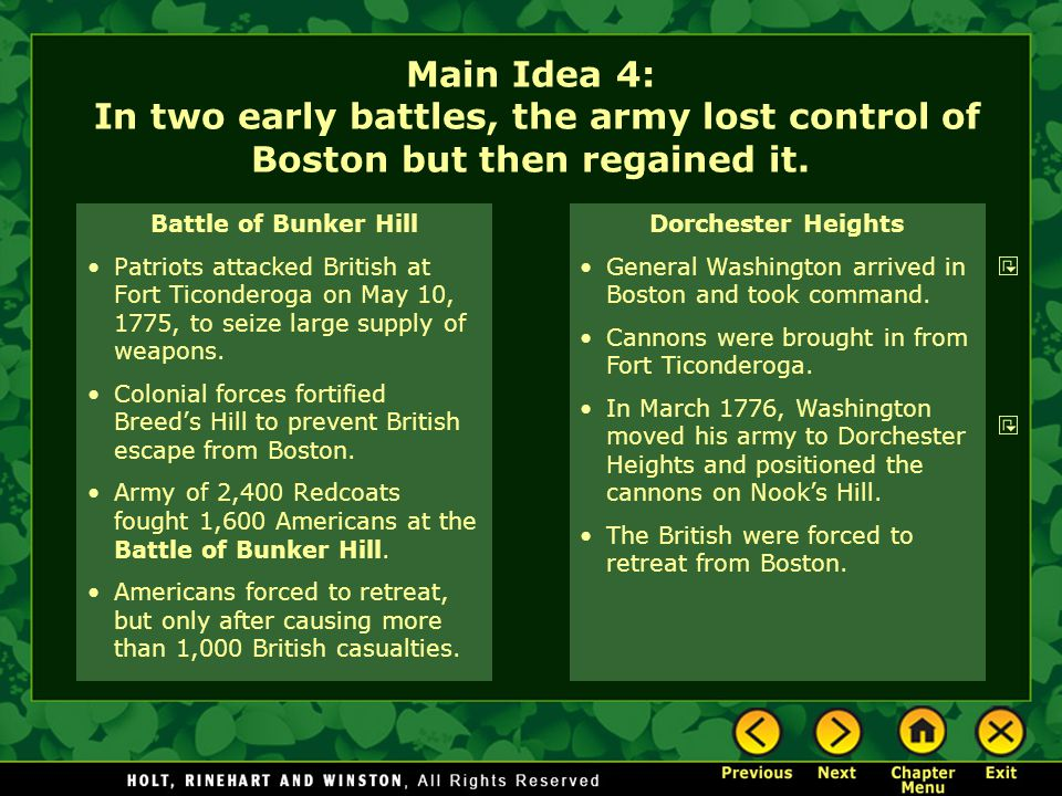 Main Idea 4: In two early battles, the army lost control of Boston but then regained it.