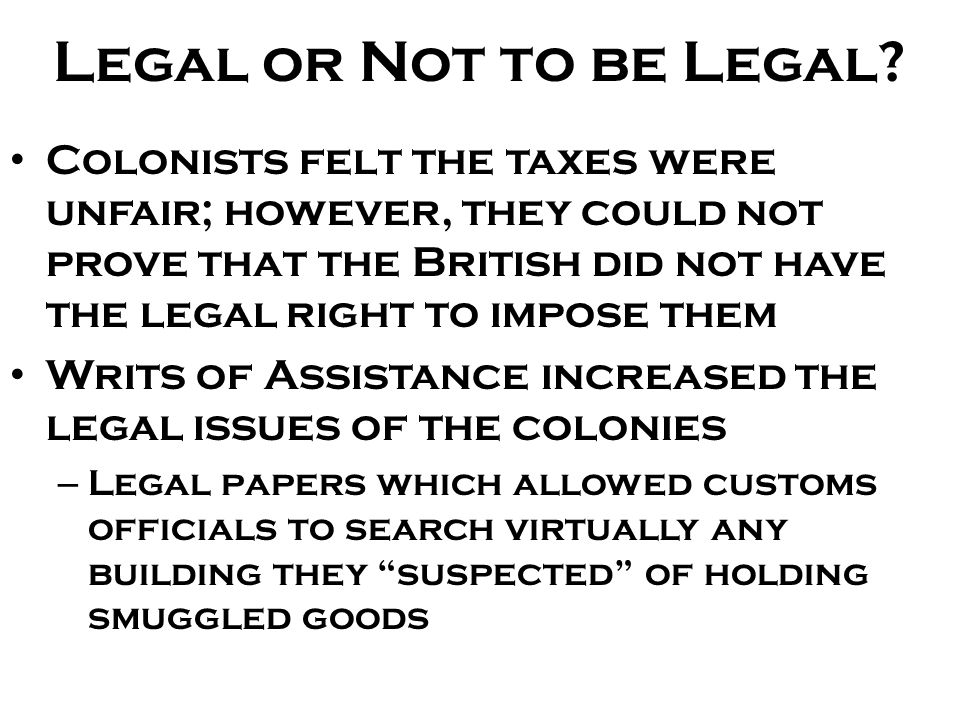 Legal or Not to be Legal