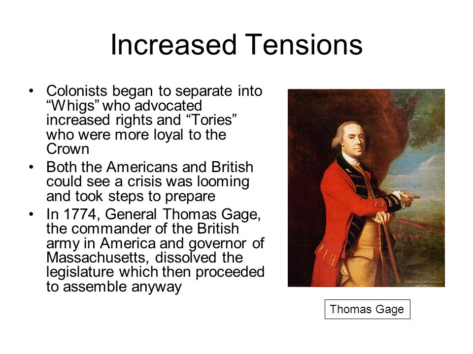 Increased Tensions Colonists began to separate into Whigs who advocated increased rights and Tories who were more loyal to the Crown.