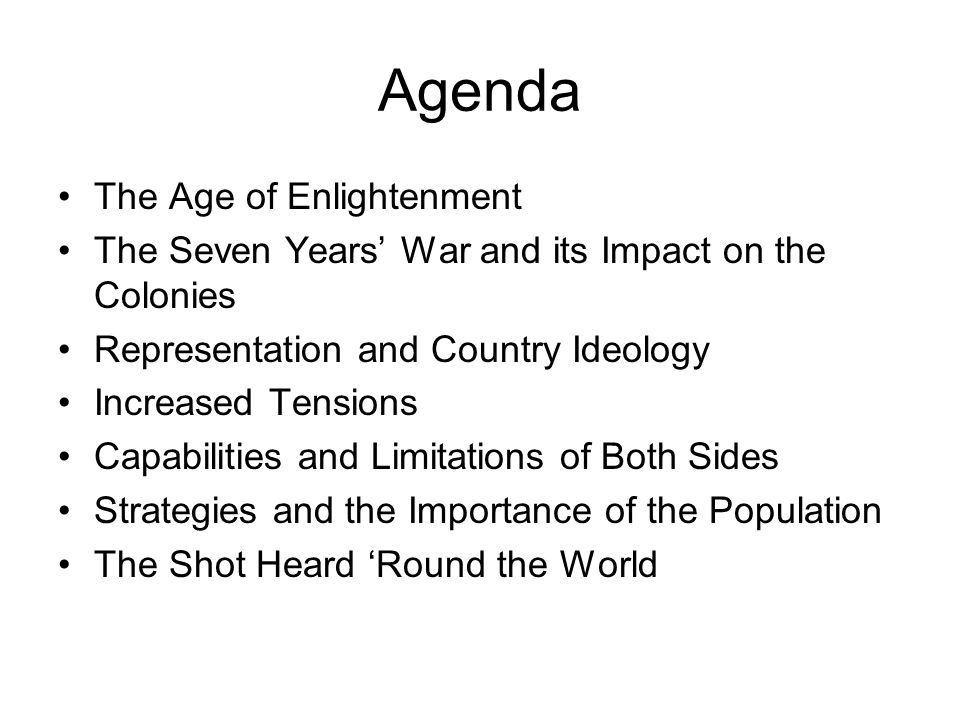 Agenda The Age of Enlightenment