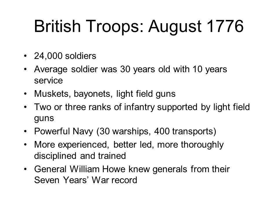 British Troops: August 1776