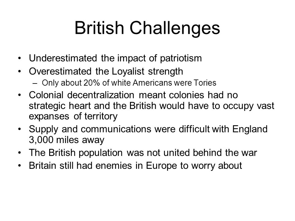 British Challenges Underestimated the impact of patriotism
